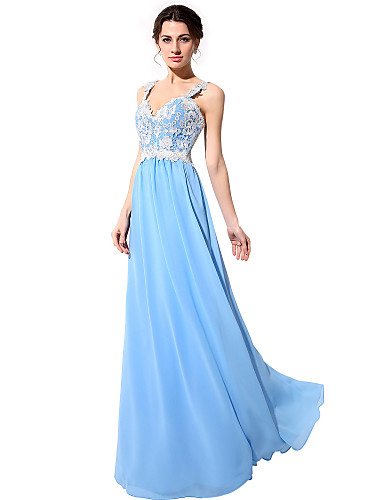 Sheath / Column Straps Floor Length Chiffon Open Back Prom / Formal Evening Dress with Beading / Appliques by