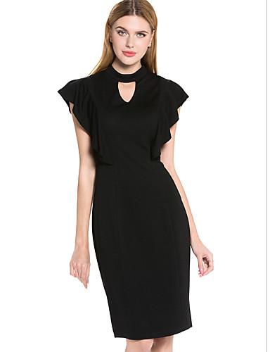 Dámské Jednoduché Bodycon Little Black Šaty Jednobarevné,Tříčtvrteční rukáv Kulatý Délka ke kolenům Bavlna Polyester Léto Mid RiseLehce