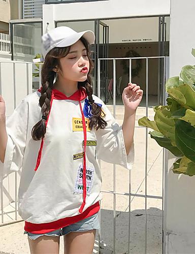 Damen Patchwork Einfach Lässig/Alltäglich T-shirt,Mit Kapuze Frühling Sommer Kurzarm Baumwolle Dünn