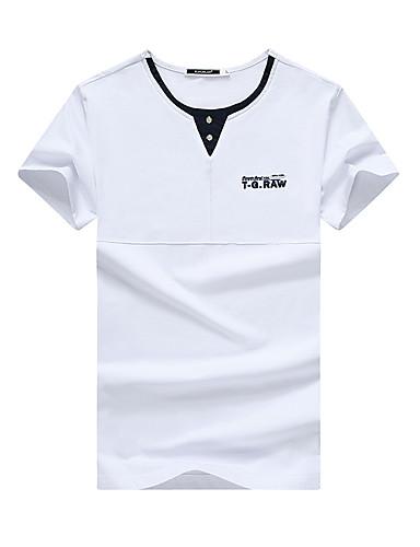 Miehet Lyhythihainen Keskipaksu Pyöreä kaula-aukko Polyesteri / Rayon (T / R) Kesä Yksinkertainen Kausaliteetti T-paita,Yhtenäinen