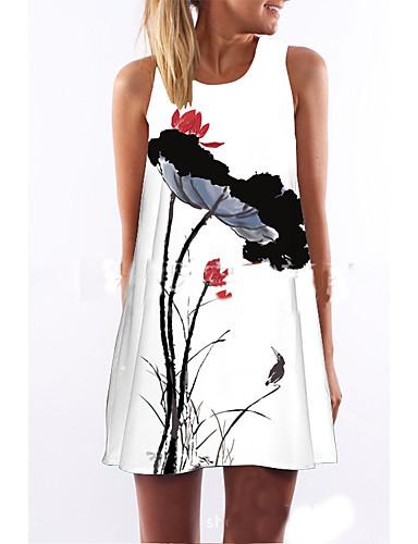 abordables Robes Imprimées-Femme Mini Au dessus du genou Courte Robe - Imprimé, Fleur Eté Blanc L XL XXL Sans Manches