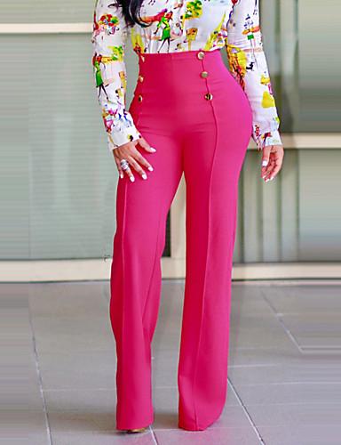 Dámské Šik ven strenchy Široké nohavice Kalhoty chinos Kalhoty High Rise Jednobarevné Jaro Podzim