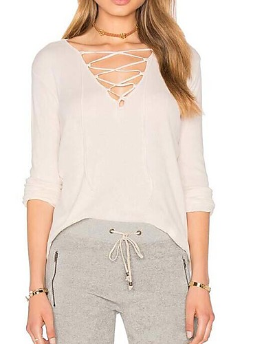 Damen Solide Freizeit T-shirt,V-Ausschnitt Langarm Baumwolle