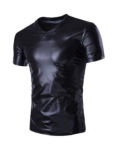 Homens Camiseta Activo Sólido Decote V
