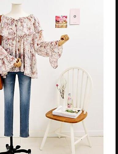 Dámské Jednobarevné Na den Rande Jednoduché Tričko Bavlna Kulatý Dlouhý rukáv