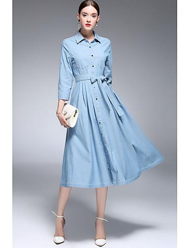 Damen Swing Kleid Solide Hemdkragen Midi Langarm Baumwolle Frühling Sommer Mittlere Hüfthöhe Mikro-elastisch Dünn