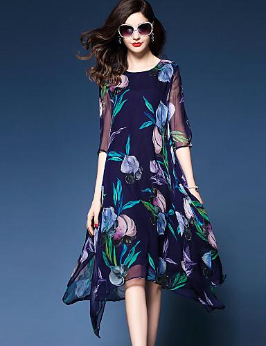 Mulheres Tamanhos Grandes Sofisticado Chifon / balanço Vestido - Fashion / Chifon / Estampado, Floral Médio