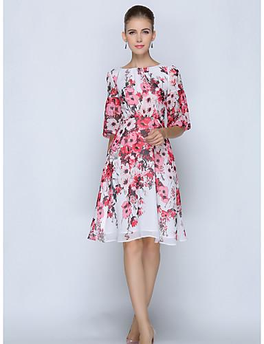 Mulheres Tamanhos Grandes Trabalho Reto Vestido Floral
