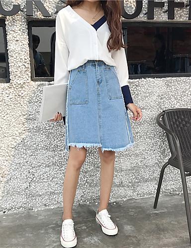 Damen Einfach Lässig/Alltäglich Über dem Knie RöckeReine Farbe einfarbig Sommer
