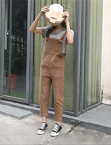 Damen Einfach Hohe Hüfthöhe strenchy Overall Gerade Hose einfarbig
