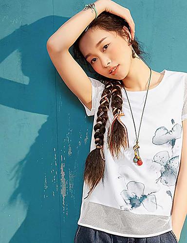 Mulheres Camiseta Casual Simples Sólido Estampado Algodão Decote Redondo Manga Curta