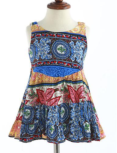 Mädchen Kleid Gitter Baumwolle Sommer Ärmellos Blumig Blau