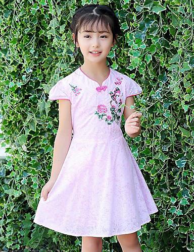Dívka je Bavlna Výšivka Léto Šaty,Krátký rukáv