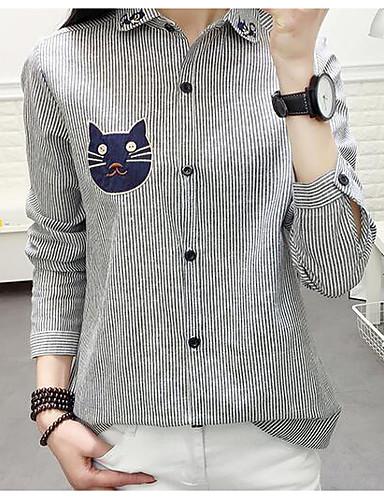 Damen Gestreift - Freizeit Baumwolle Hemd, Ständer / Frühling / Herbst / mit feinen Streifen