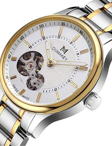 Homens relógio mecânico Quartzo Automático - da corda automáticamente Impermeável Calendário Lega Banda Analógico Amuleto Fashion Prata - Branco Preto