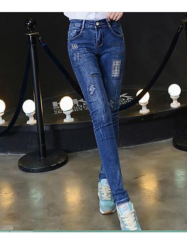 Damen Einfach Mittlere Hüfthöhe strenchy Jeans Skinny Hose einfarbig