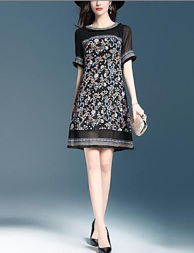 Dámské Vintage A Line Šaty Tisk Patchwork,Krátký rukáv Kulatý Nad kolena Polyester Léto Mid Rise Neelastické Tenké