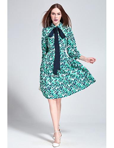 Damen A-Linie Kleid-Ausgehen Lässig/Alltäglich Druck Hemdkragen Knielang Seide Frühling Sommer Mittlere Hüfthöhe Unelastisch Mittel