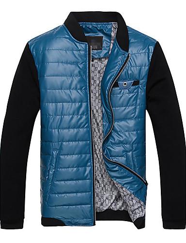 Herren Plaid/Karomuster Alltag Normal Jacke,Ständer Herbst Winter Lange Ärmel Standard PU Patchwork