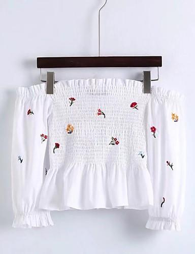 Damen Blumen Stickerei Einfach Sexy Street Schick T-shirt,Bateau Sommer Baumwolle Dünn Mittel
