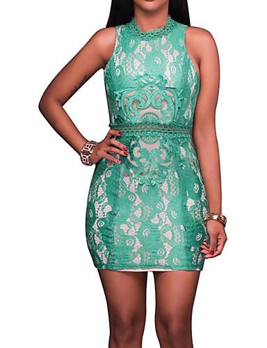 Damen Bodycon Kleid-Klub Übergröße Retro Freizeit Sexy Patchwork Rundhalsausschnitt Übers Knie Ärmellos Polyester Frühling Sommer Hohe