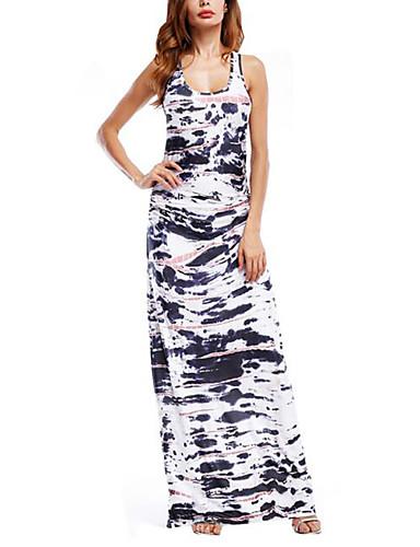 Damen Ausgehen Anspruchsvoll Baumwolle Bodycon Kleid - Druck Maxi Hohe Hüfthöhe
