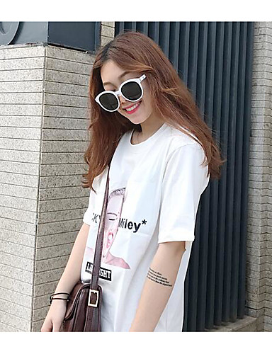 Damen Punkt Einfach Aktiv Ausgehen T-shirt,Rundhalsausschnitt Kurzarm Baumwolle