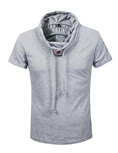 Herren Solide Einfach Aktiv Ausgehen Lässig/Alltäglich Klub T-shirt,Mit Kapuze Alle Saisons Sommer Kurzarm Baumwolle Elasthan