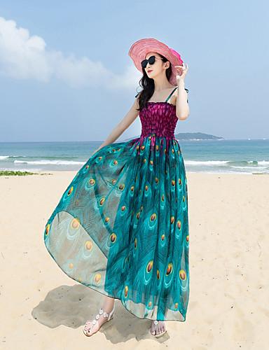 Damen Swing Kleid-Lässig/Alltäglich Strand Druck Schachbrett Quadratischer Ausschnitt Maxi Ärmellos Polyester Sommer Hohe Hüfthöhe
