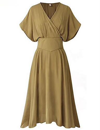 Dámské Jednoduché Pouzdro Šaty Jednobarevné,Krátký rukáv Do V Délka ke kolenům Polyester Léto Mid Rise Neelastické Střední