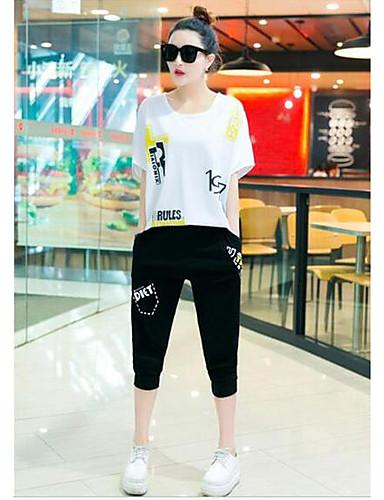 Dámské Jednobarevné Běžné/Denní Sportovní Jednoduchý Aktivní Trička Kalhoty Obleky-Léto Kulatý Krátký rukáv