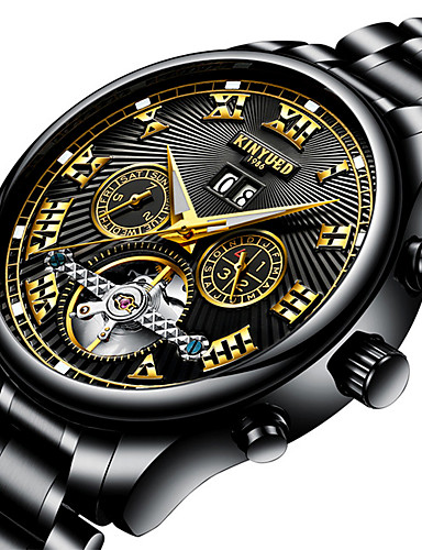 Men's Sport Watch / Skeleton Watch / Military Watch Japanese Calendar / date / day / Water Resistant / Water Proof / Creative Stainless Steel Band Charm / Luxury / Casual Black / Silver / Large Dial