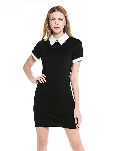 Dámské Jednoduché Shift Šaty Jednobarevné,Krátký rukáv Košilový límec Nad kolena Bavlna Polyester Léto Mid Rise Lehce elastické Střední