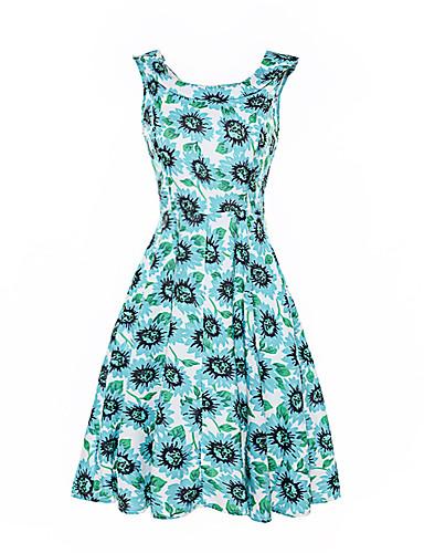 Damen Strand Hülle Swing Kleid Blumen Bateau Hohe Hüfthöhe