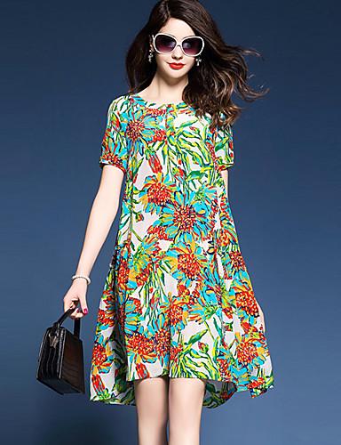 Damen Lose Kleid-Ausgehen Übergröße Street Schick Druck Rundhalsausschnitt Übers Knie Kurzarm Nylon Sommer Mittlere Hüfthöhe