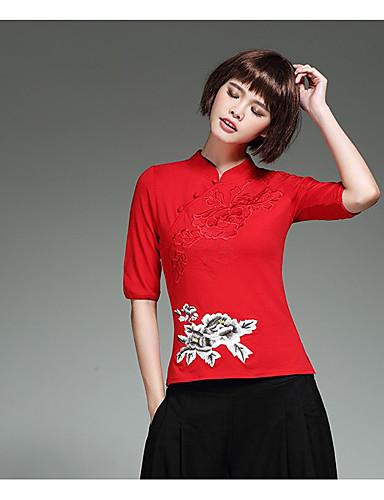 Damen Solide Stickerei Retro Chinoiserie Lässig/Alltäglich Urlaub Hemd,Ständer ½ Länge Ärmel Bambusfaser Elasthan