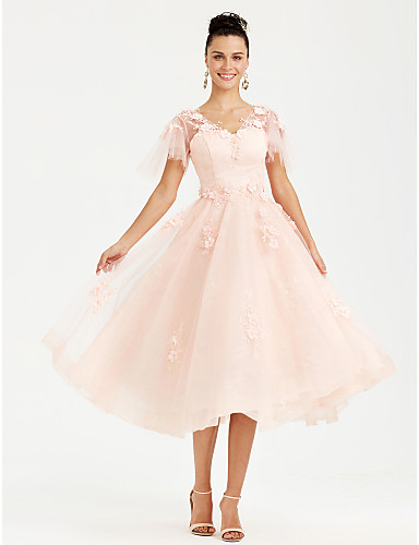 47c7f227d16 A-Line V Neck Tea Length Tulle See Through Cocktail Party   Prom ...