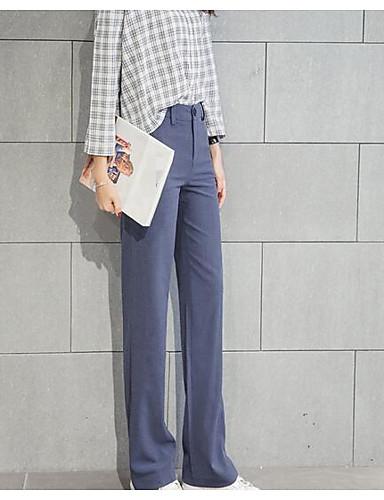 Dámské Jednoduchý Mikro elastické Kalhoty chinos Provozovna Kalhoty Rovné High Rise Jednobarevné
