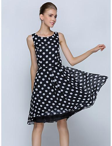 Dámské Vintage Jednoduché Velké velikosti Práce A Line Šaty Geometrický,Bez rukávů Kulatý Délka ke kolenům Polyester Léto Mid Rise