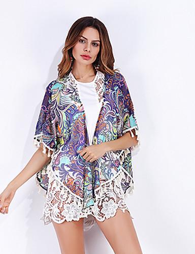 Mulheres Blusa - Para Noite Boho / Moda de Rua Chifon / Estampado, Estampado Cashemere Decote V Oversized / Verão / Outono