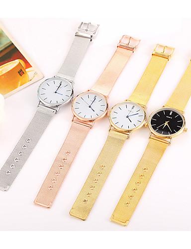 Mulheres Quartzo Relógio de Pulso Chinês Relógio Casual Aço Inoxidável Banda Casual Minimalista Fashion Legal Preta Prata