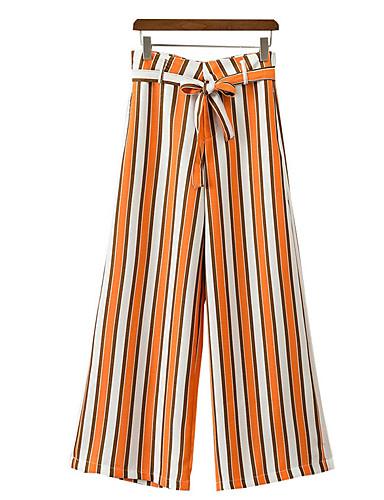 Dámské Jednoduchý strenchy Volné Kalhoty Volný Mid Rise Proužky