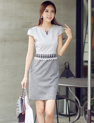 Dámské Jednoduchý Běžné/Denní Pouzdro Šaty Jednobarevné,Krátký rukáv Kulatý Nad kolena Polyester Léto Mid Rise Lehce elastické Střední
