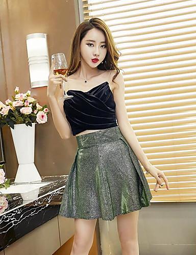 Damen einfarbig Sexy Lässig/Alltäglich Muskelshirt Rock Anzüge,V-Ausschnitt Sommer Ärmellos Mikro-elastisch