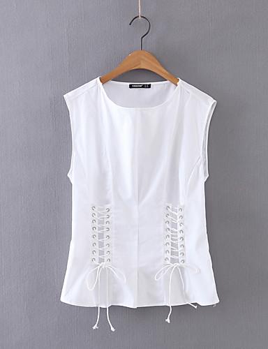 Damen Solide Einfach Sexy Street Schick Ausgehen Lässig/Alltäglich T-shirt,Rundhalsausschnitt Sommer Ärmellos Baumwolle Dünn Mittel