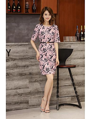 Damen A-Linie Kleid-Ausgehen Lässig/Alltäglich Druck Rundhalsausschnitt Übers Knie Kurzarm Baumwolle Frühling Sommer Mittlere Hüfthöhe