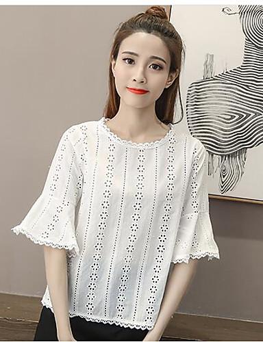 Damen Geometrisch Einfach Lässig/Alltäglich Hemd,Rundhalsausschnitt Sommer Kurzarm Bambusfaser Dünn