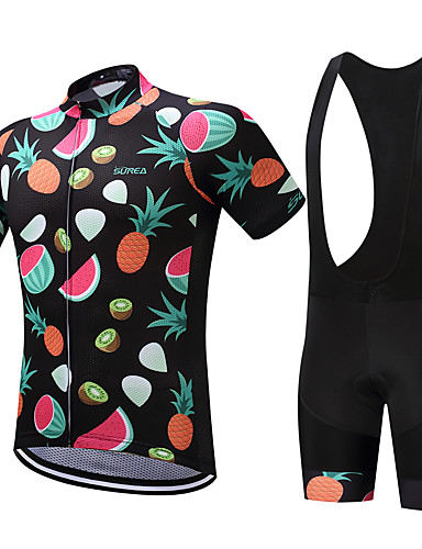 cheap Cycling Clothing-SUREA Men's Short Sleeve Cycling Jersey with Bib Shorts Bike Clothing Suit Breathable Quick Dry Sweat-wicking Sports Coolmax® Lycra Fruit Mountain Bike MTB Road Bike Cycling Clothing Apparel