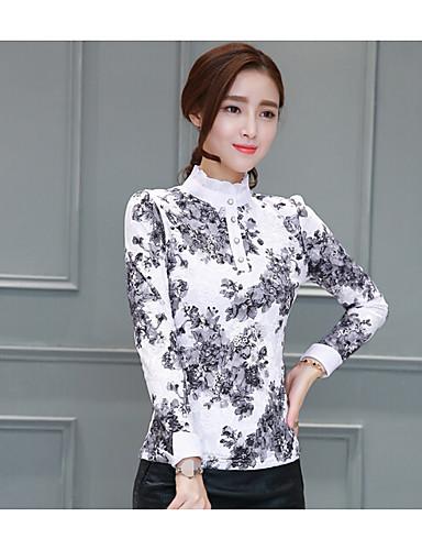 Damen Blumen Hemd, Ständer Polyester