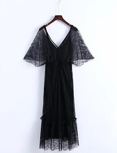 Damen Lose Etuikleid Kleid-Ausgehen Lässig/Alltäglich Einfach Street Schick Solide Tiefes V Midi Seide Baumwolle Sommer Herbst Mittlere